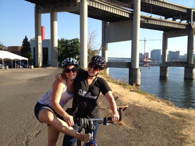 erin and alicia bike ride portland