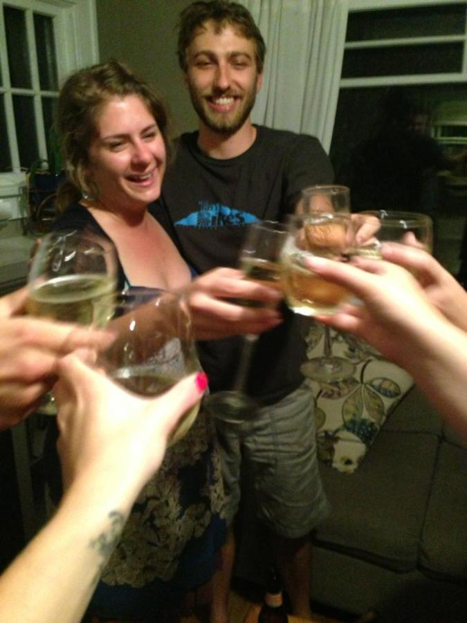 Our first toast! Thanks to Shelley and Adam for bringing home the bubbly. :)