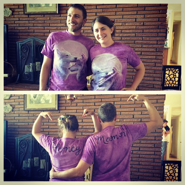 "Kyle and I in our wolf ""honey"" and ""mooner"" shirts!"
