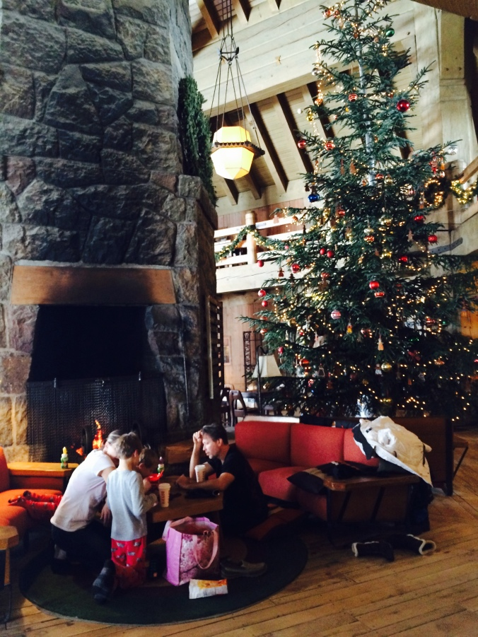 Here's a picture I took up at Timberline Lodge this past weekend. It's such a cozy, warm place to curl up by a fire and have some hot cocoa.