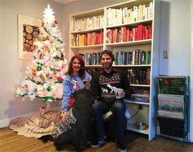 This is the photo we used for our first ever Pratuch Family Christmas Card. I'm lucky to have these two, and especially lucky to have such a patient husband, willing to dress up in silly sweaters and pose with our silly dog.